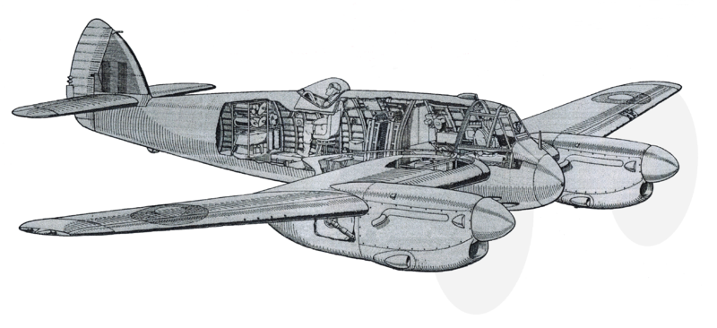 Cut-away drawing of a Bristol Beaufighter Mk.II