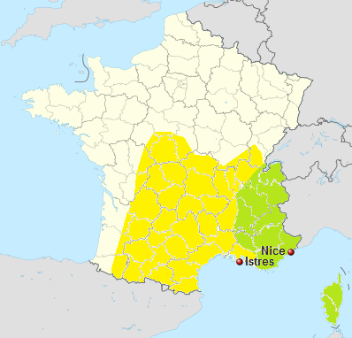 location map, Airfields in France